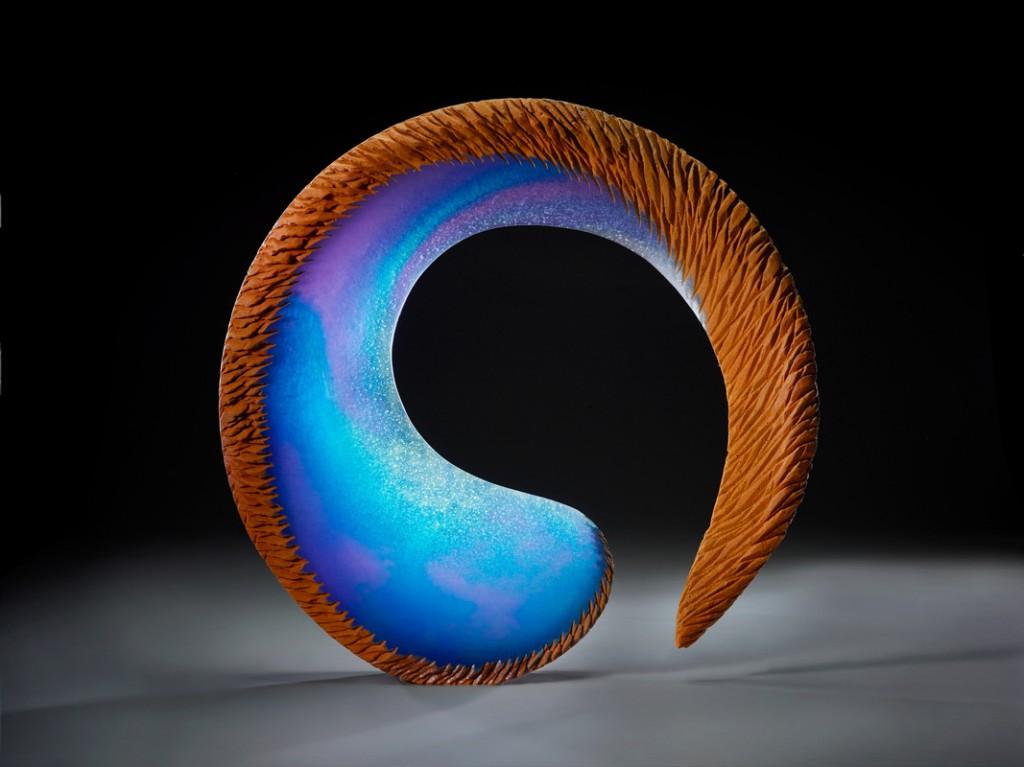"Alex Bernstein, Morning Balance - 26x26x5"" - Cast and cut glass, fused steel"