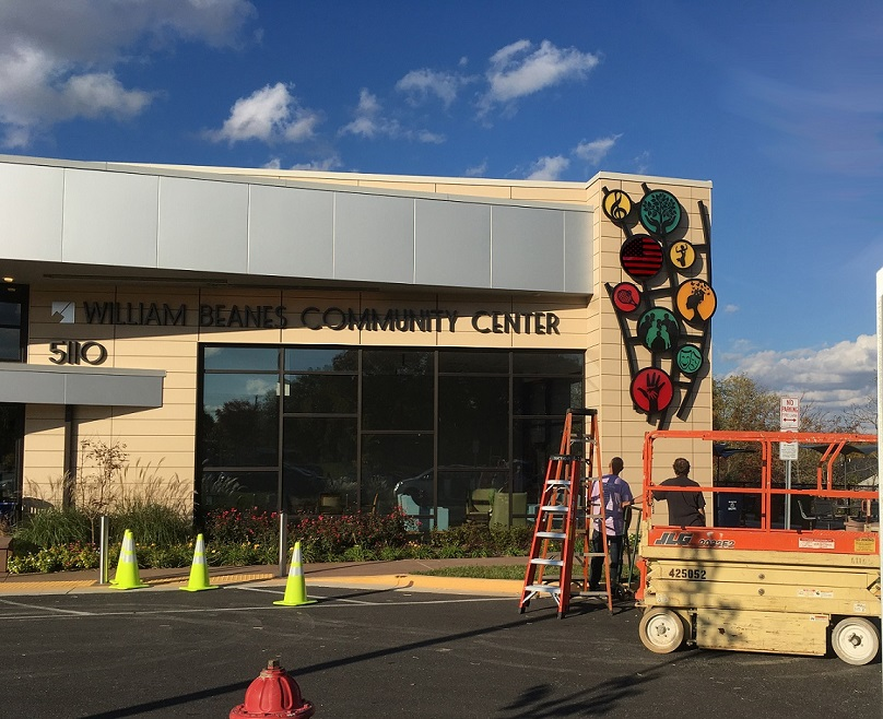 Installation of Suitland's William Beanes Center new public art sculpture.