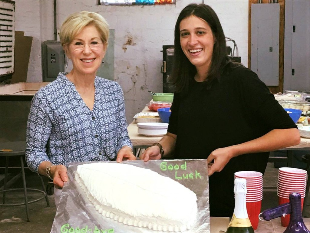 Teary-eyed farewell to Our Miss Wilson - artist Trish Kent baked a farewell cake in the shape of Audrey's favorite artistic element - a feather.