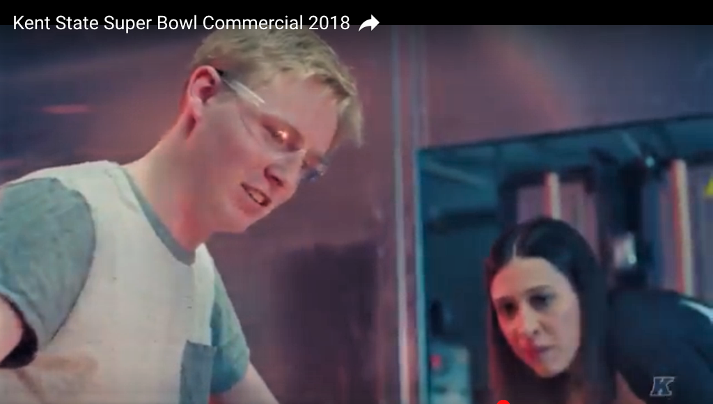 Our Miss Audrey featured walk-on as glass instructor in Kent State's 2018 Super Bowl ad.