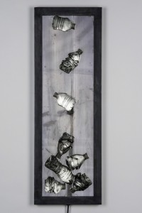 """Erwin Timmers, """"Water Falling, Glass, steel, LEDs, 36 × 12 × 4 in."""