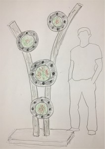 Erwin Timmers' sketch of his sculpture for Foggy Bottom exibit.