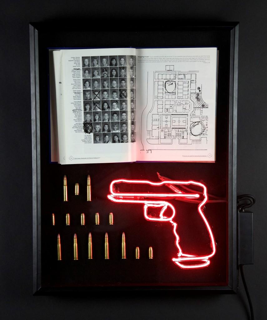 "Audrey Wilson, ""Shooting Range"", neon, found objects, 18"" x 24"" x 4"""