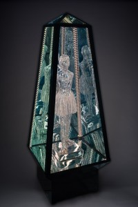 "Tim Tate, ""I Stand With My Sisters"", mixed media, LED, glass. Habatat Galleries booth #A25. photo by Pete Duvall"