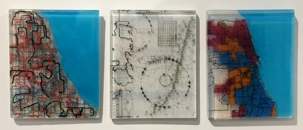"Leslie Speicher, "" Districts, Demographics and Algorithms"", fused glass"