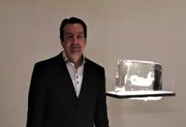 "Eric Hess won third place in the Stanislav Libenský Award competition for ""Fragile,"" a glass sculpted fetus encased in a 1-foot square ice cube."