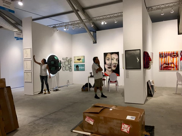 Artists of Washington Glass School install at Art Miami/Context fair with Alida Anderson Art Projects Gallery.