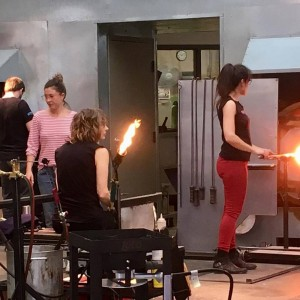 Mel &Nancy working at the Chrysler Museum Glass Center.