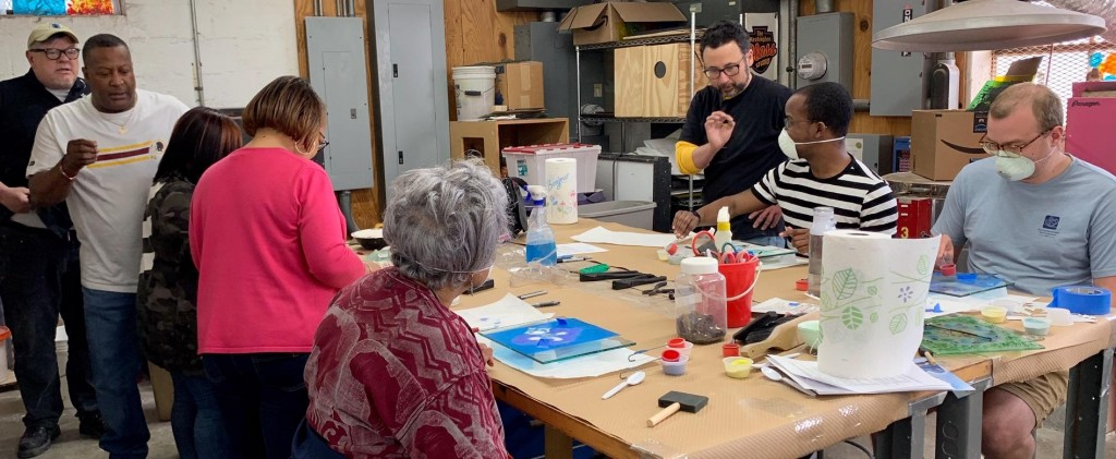 The Washington Glass School was filled with residents of Peppermill Village, MD - all making glass and having a great time!