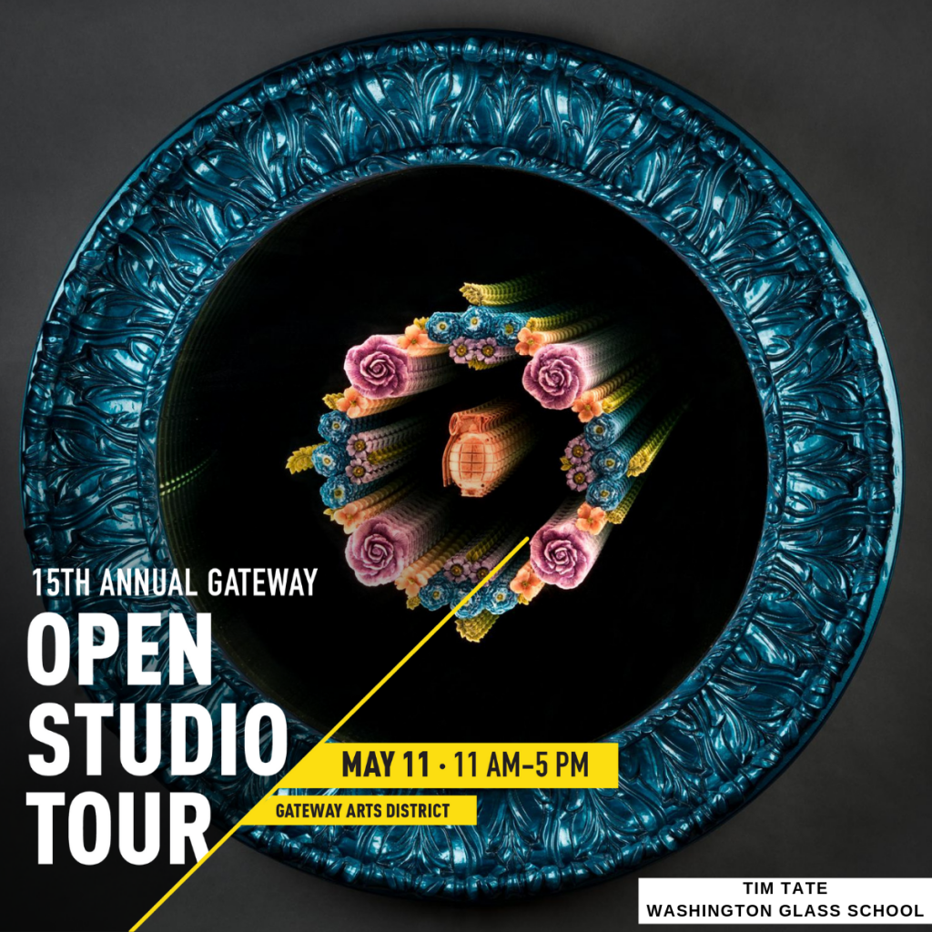 Gateway Arts District 15th Open Studio Tour - the DC region's largest one-day visual arts festival! Saturday, May 11, 2019 from 11am to 5pm. Works by the artists and instructors of the Washington Glass School are to be featured!