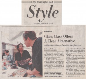 A 2002 Washington Post newspaper article about the glass program - features Cheryl Derricotte and Erwin Timmers.