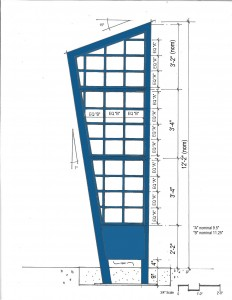 Shop drawing of sculpture by WGS.