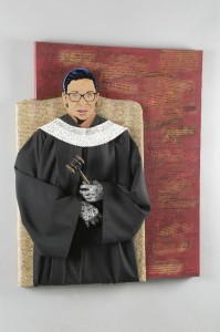 "Kristina Chenevert, ""Ruth Bader Ginsberg"" ; Mixed media portrait of the Supreme Court Justice (and somewhat an obsession) - RBG. This assemblage is built onto and off a 30""x40"" canvas."
