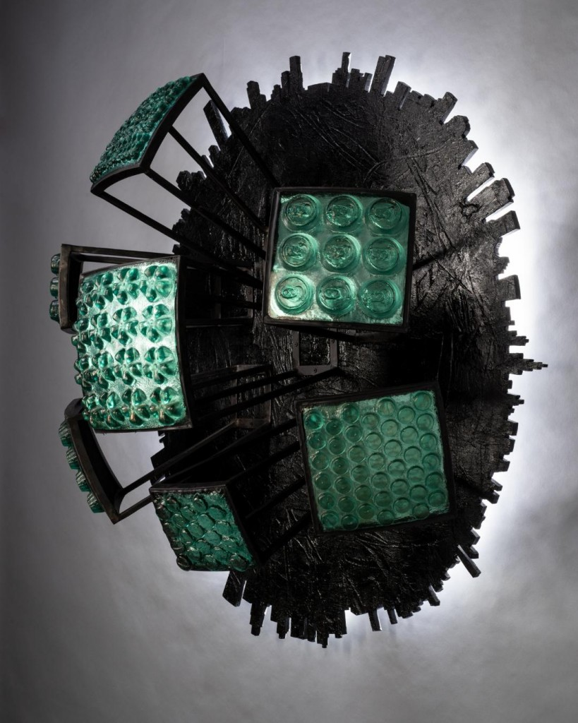 "Erwin Timmers; ""Sitemap""; cast recycled glass, recycled steel, LED lighting, recycled wood"