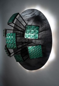 """Erwin Timmers; """"Sitemap""""; cast recycled glass, recycled steel, LED lighting, recycled wood"""