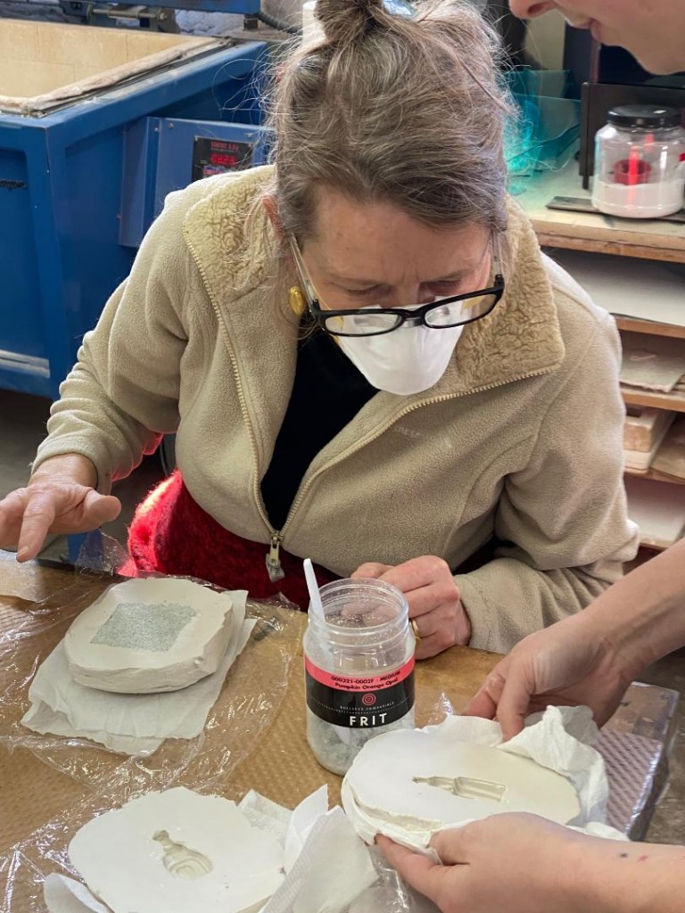 The Pâte de verre students made plaster molds in which they would cast the glass.