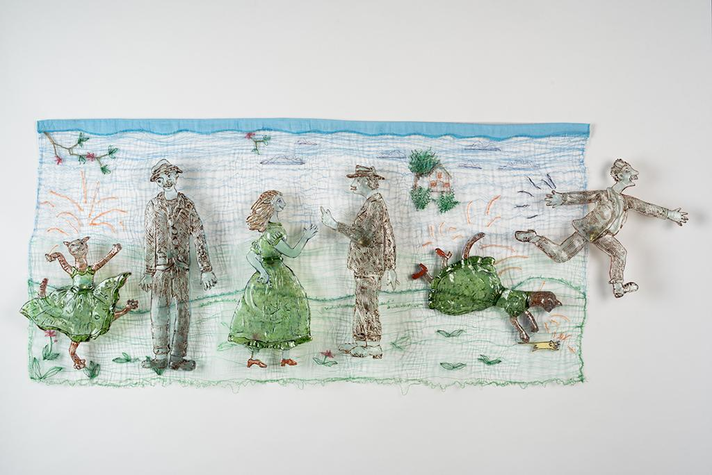 """Allegra Marquart; """"The Cat Who Wanted To Be A Woman"""", 24x40"""", Cast, cut painted glass shapes wall mounted through machine stitched background of multiple colored threads."""