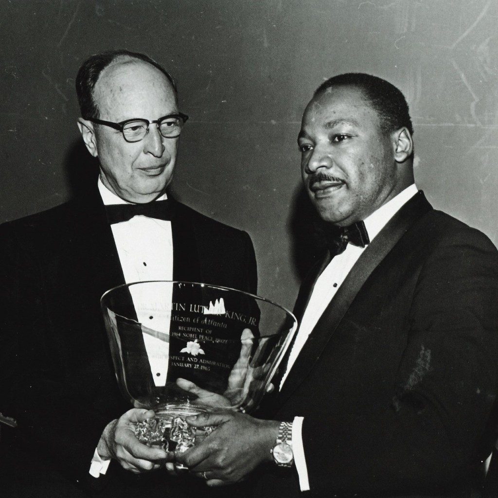 1964 -  The citizens of Atlanta present Martin Luther King, Jr. with an engraved Steuben bowl in honor of his winning the Nobel Peace prize.