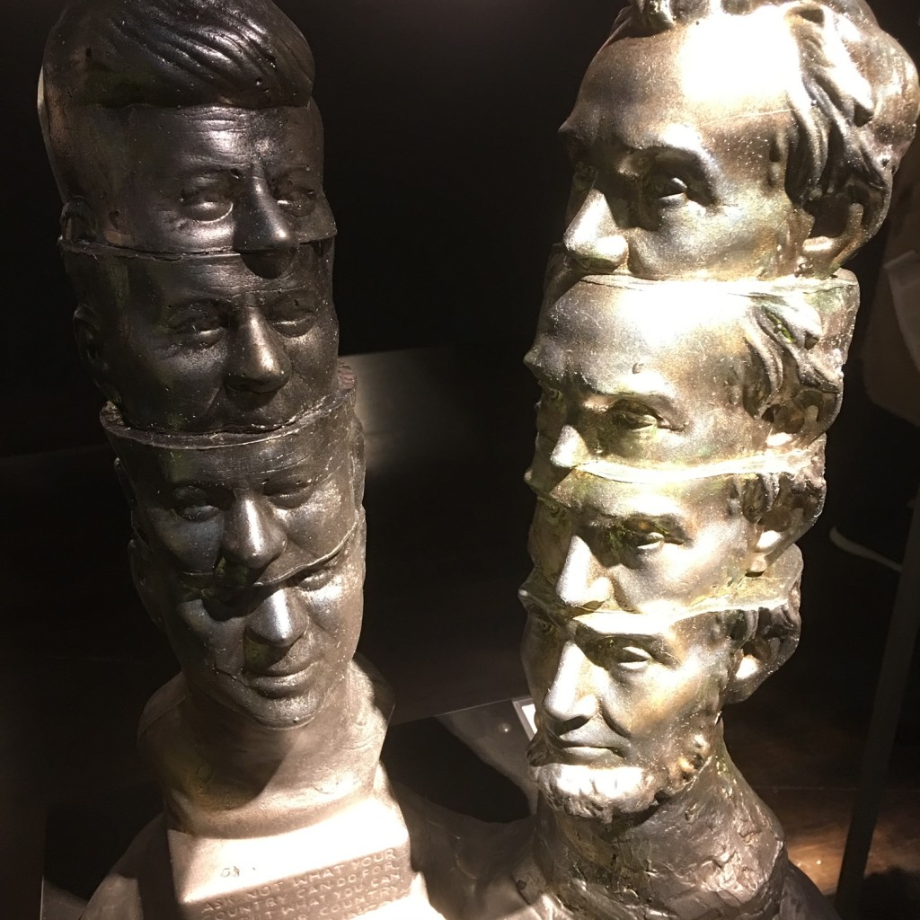 Short Stack: Kennedy and Lincoln; James LaBold, Mold blown glass and mixed media