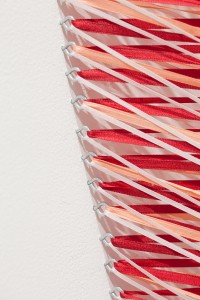 "Teri Bailey: Detail ""Delicate Revolution""; Stainless Steel Eyehooks, Ribbon, Wood; 2'x8'x1'"