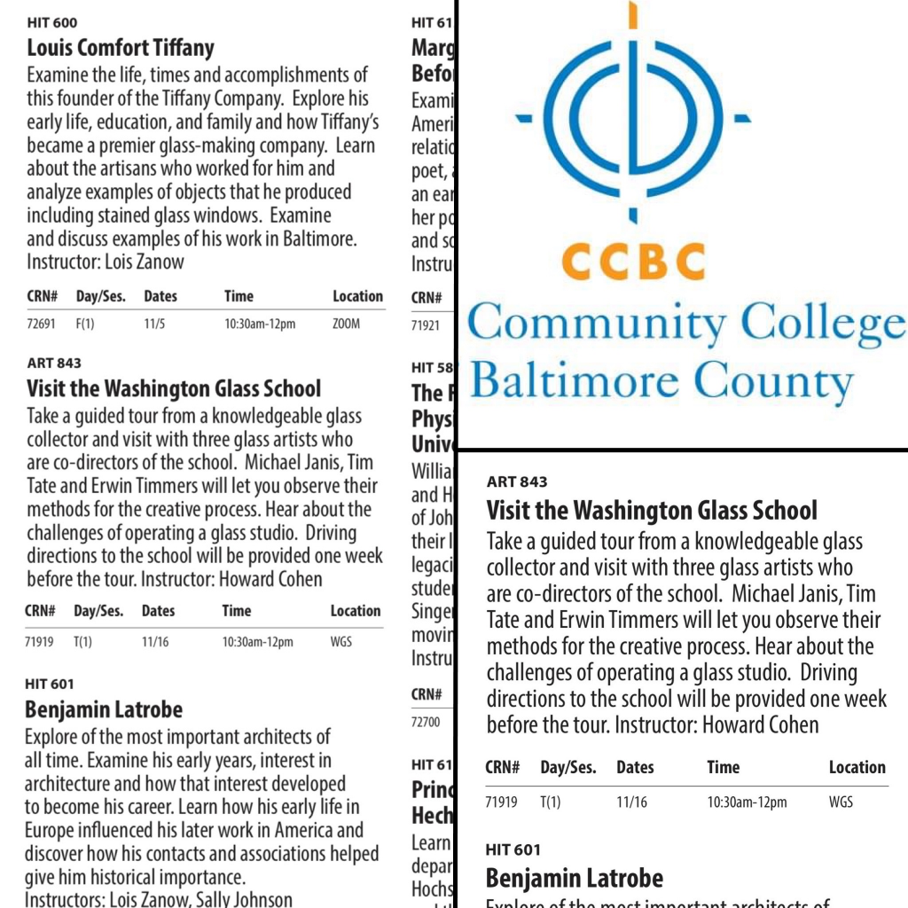 Community College of Baltimore and Washington Glass School  co-teaching